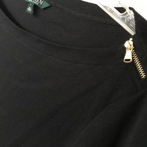 Lauren Ralph Lauren black zipper shoulder top